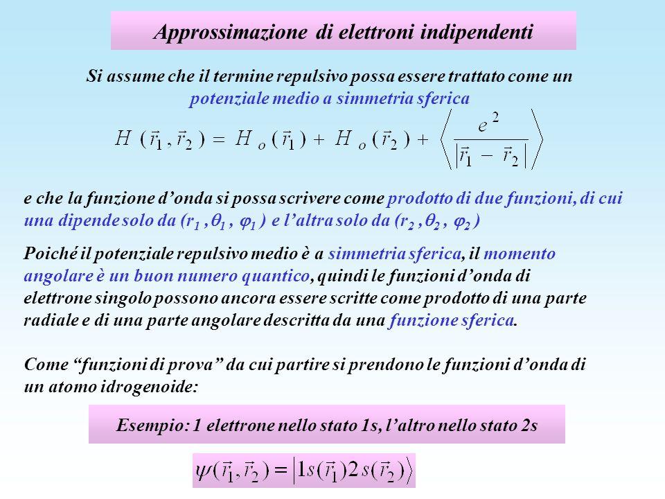 Approssimazione di elettroni indipendenti Poiché il potenziale repulsivo medio è a simmetria sferica, il momento angolare è un buon numero quantico, q