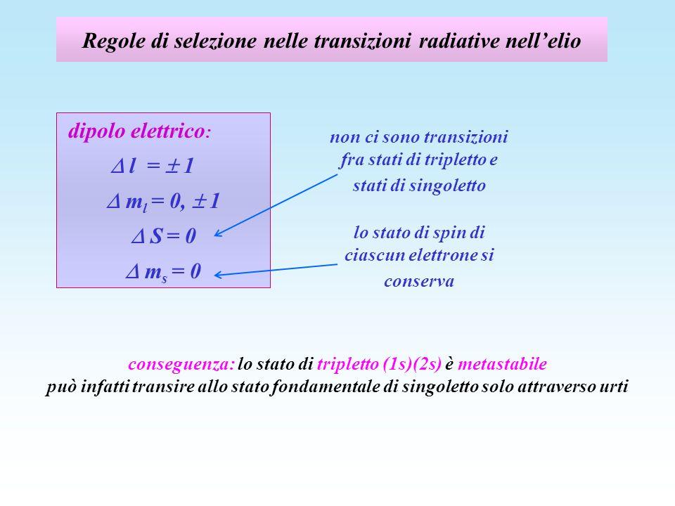 Regole di selezione nelle transizioni radiative nellelio non ci sono transizioni fra stati di tripletto e stati di singoletto conseguenza: lo stato di