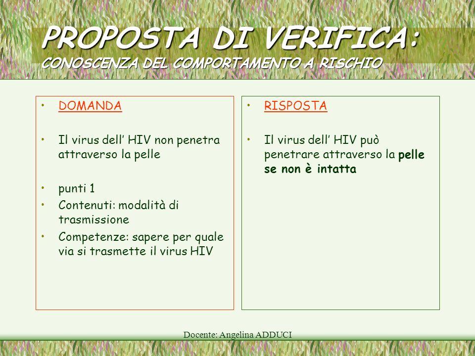 Docente: Angelina ADDUCI PROPOSTA DI VERIFICA: CONOSCENZA DEL COMPORTAMENTO A RISCHIO DOMANDA Il virus dell HIV non penetra attraverso la pelle punti