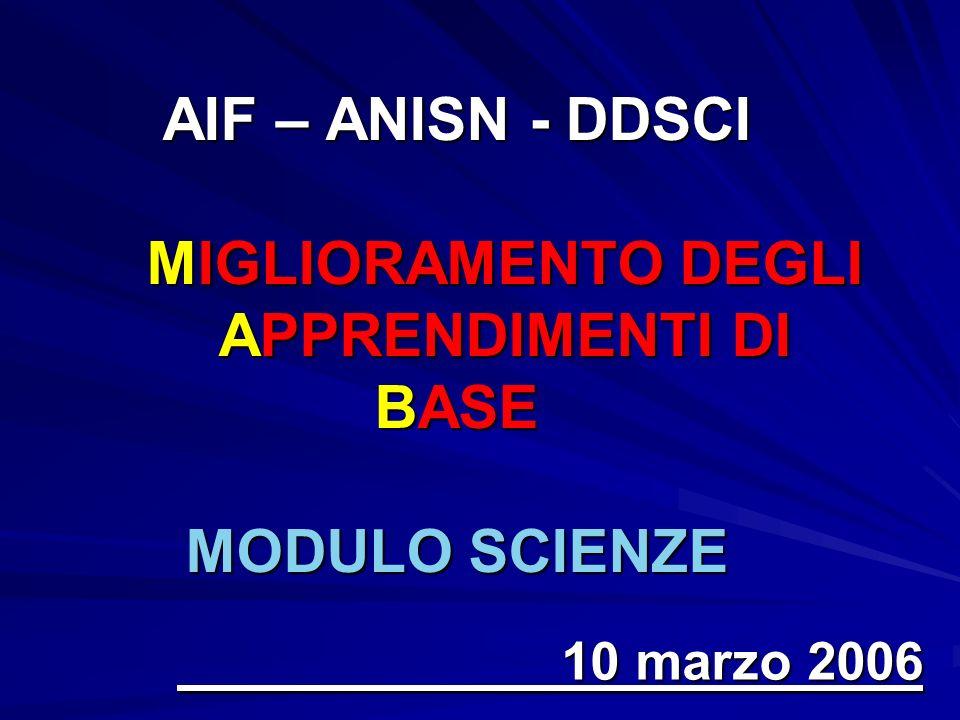 AIF – ANISN - DDSCI MIGLIORAMENTO DEGLI APPRENDIMENTI DI BASE MODULO SCIENZE 10 marzo 2006