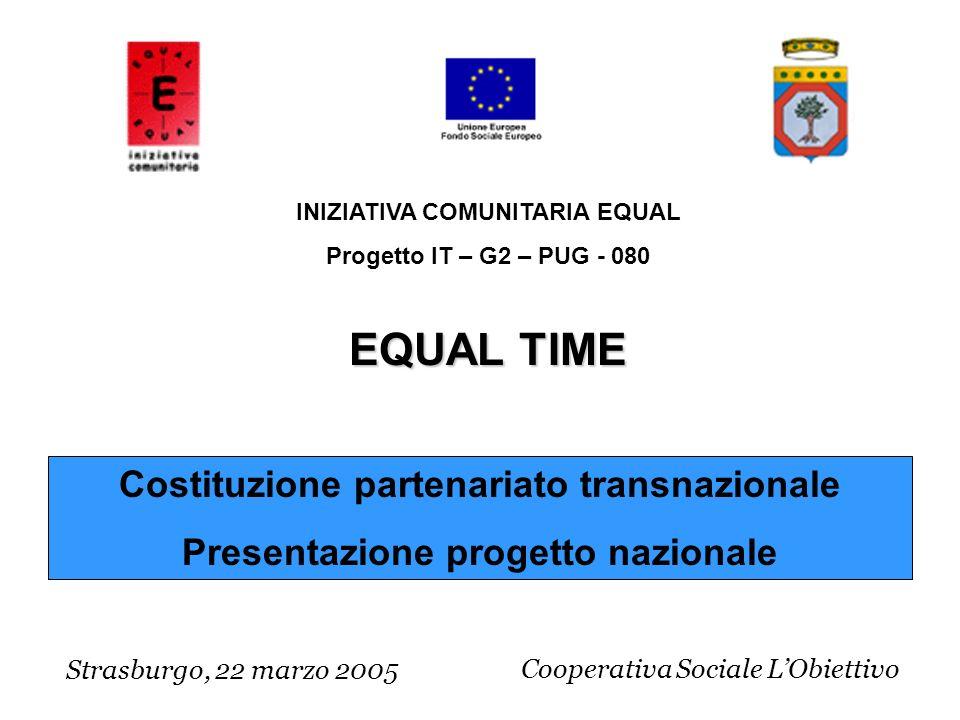 Costituzione partenariato transnazionale Presentazione progetto nazionale Strasburgo, 22 marzo 2005 INIZIATIVA COMUNITARIA EQUAL Progetto IT – G2 – PUG - 080 EQUAL TIME Cooperativa Sociale LObiettivo