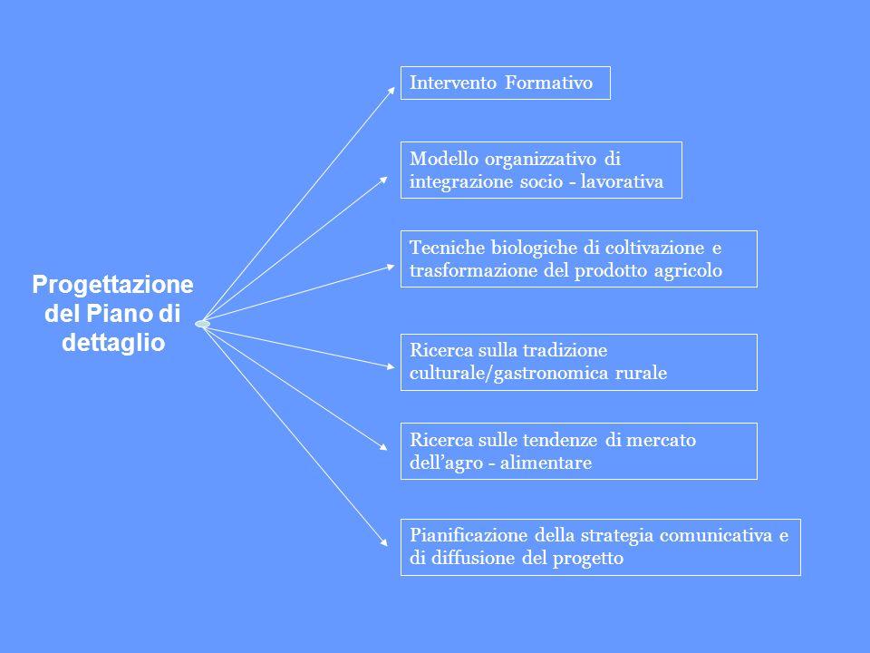 Progettazione del Piano di dettaglio Intervento Formativo Modello organizzativo di integrazione socio - lavorativa Tecniche biologiche di coltivazione e trasformazione del prodotto agricolo Ricerca sulla tradizione culturale/gastronomica rurale Ricerca sulle tendenze di mercato dellagro - alimentare Pianificazione della strategia comunicativa e di diffusione del progetto