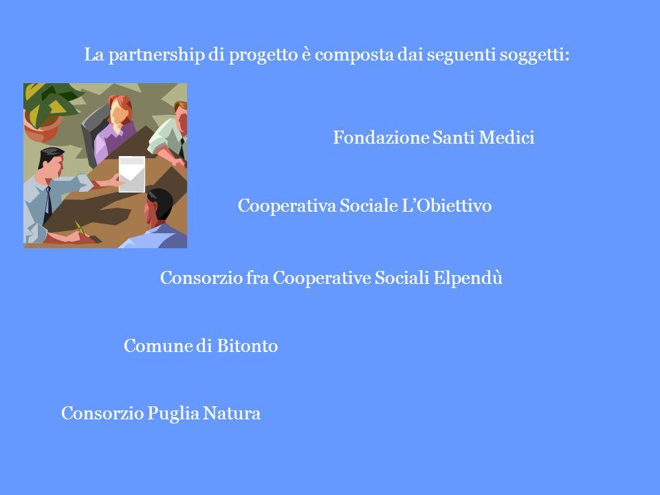 La partnership di progetto è composta dai seguenti soggetti: Fondazione Santi Medici Cooperativa Sociale LObiettivo Consorzio fra Cooperative Sociali Elpendù Comune di Bitonto Consorzio Puglia Natura