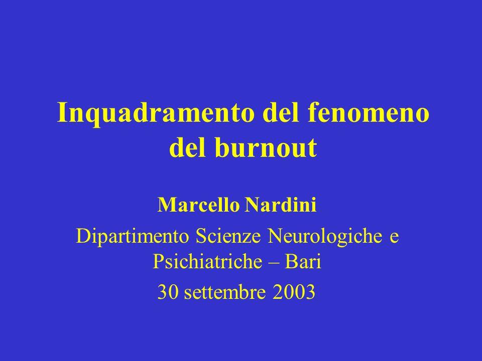 Inquadramento del fenomeno del burnout Marcello Nardini Dipartimento Scienze Neurologiche e Psichiatriche – Bari 30 settembre 2003