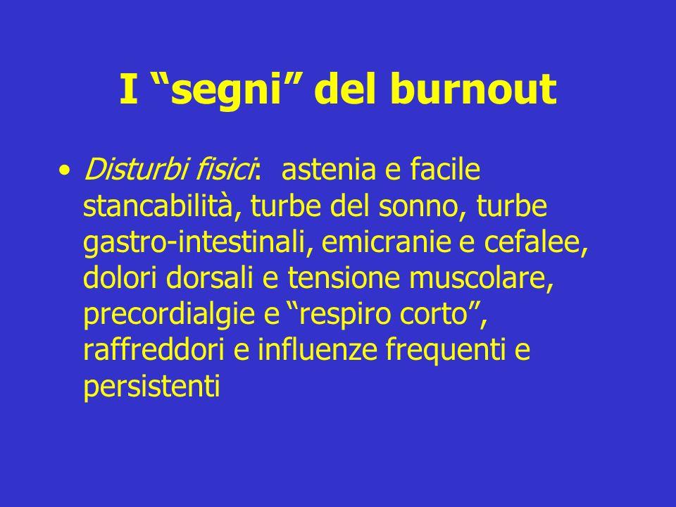 I segni del burnout Disturbi fisici: astenia e facile stancabilità, turbe del sonno, turbe gastro-intestinali, emicranie e cefalee, dolori dorsali e t