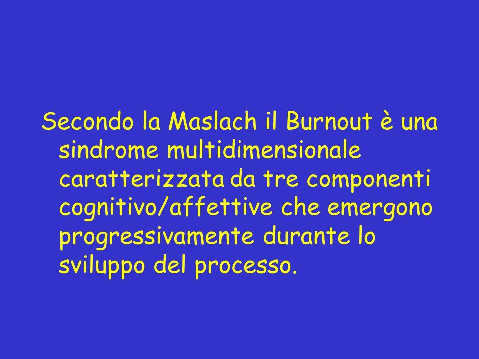 Secondo la Maslach il Burnout è una sindrome multidimensionale caratterizzata da tre componenti cognitivo/affettive che emergono progressivamente dura