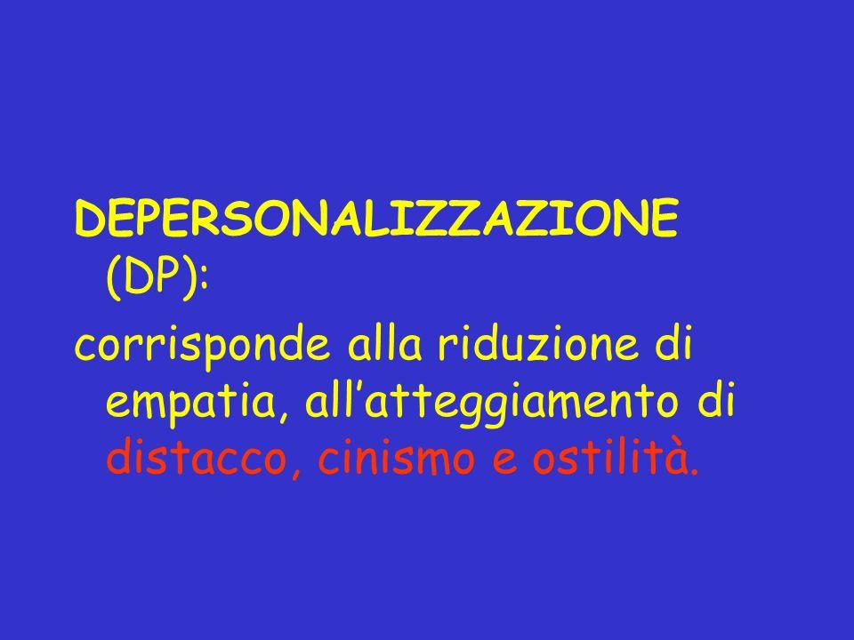 DEPERSONALIZZAZIONE (DP): corrisponde alla riduzione di empatia, allatteggiamento di distacco, cinismo e ostilità.
