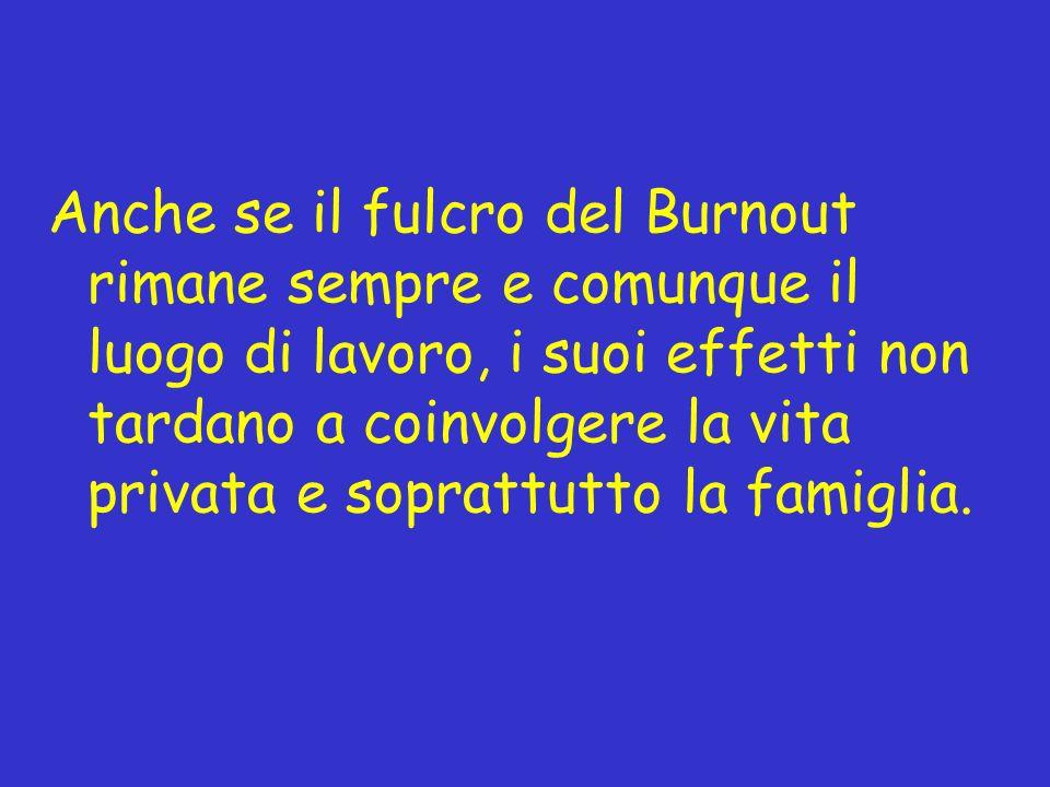 Anche se il fulcro del Burnout rimane sempre e comunque il luogo di lavoro, i suoi effetti non tardano a coinvolgere la vita privata e soprattutto la