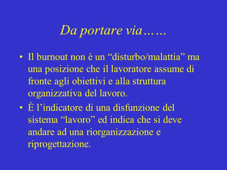 Da portare via…… Il burnout non è un disturbo/malattia ma una posizione che il lavoratore assume di fronte agli obiettivi e alla struttura organizzati