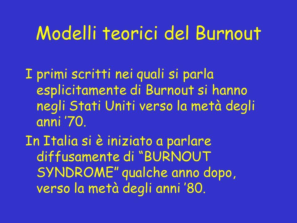 Modelli teorici del Burnout I primi scritti nei quali si parla esplicitamente di Burnout si hanno negli Stati Uniti verso la metà degli anni 70. In It