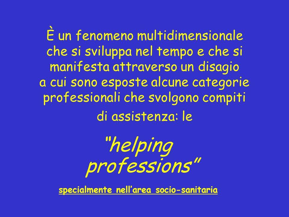 È un fenomeno multidimensionale che si sviluppa nel tempo e che si manifesta attraverso un disagio a cui sono esposte alcune categorie professionali c