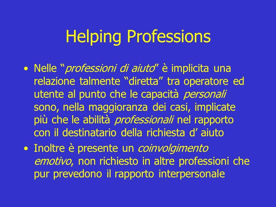 Helping Professions Nelle professioni di aiuto è implicita una relazione talmente diretta tra operatore ed utente al punto che le capacità personali s