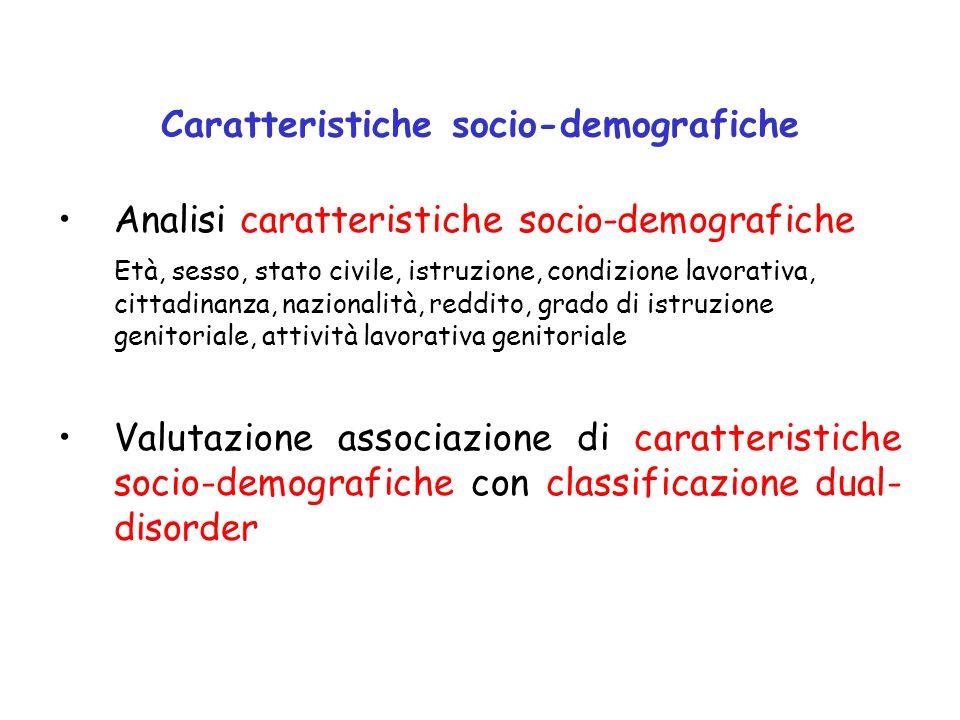 Caratteristiche socio-demografiche Analisi caratteristiche socio-demografiche Età, sesso, stato civile, istruzione, condizione lavorativa, cittadinanz