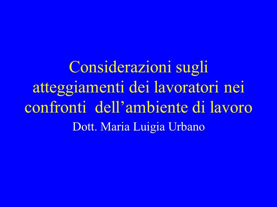 Considerazioni sugli atteggiamenti dei lavoratori nei confronti dellambiente di lavoro Dott. Maria Luigia Urbano
