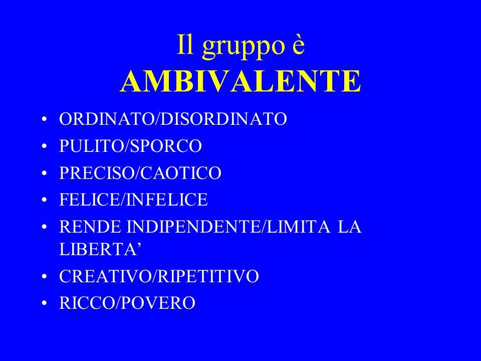 Il gruppo è AMBIVALENTE ORDINATO/DISORDINATO PULITO/SPORCO PRECISO/CAOTICO FELICE/INFELICE RENDE INDIPENDENTE/LIMITA LA LIBERTA CREATIVO/RIPETITIVO RI