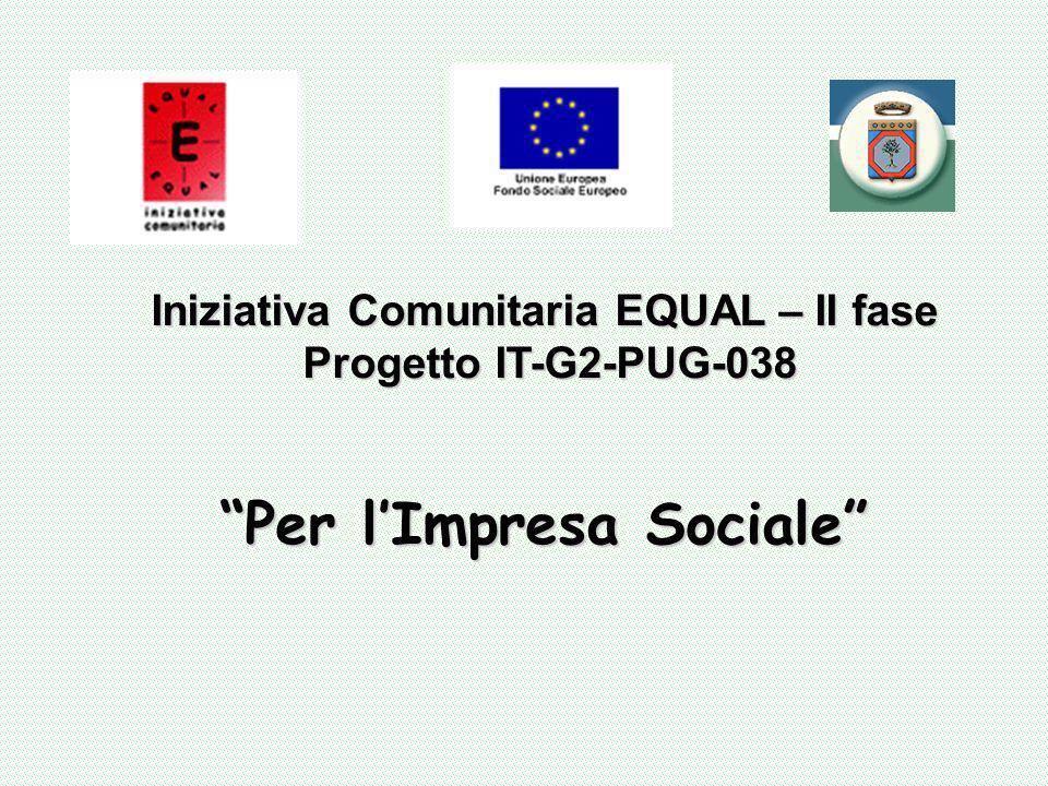 Iniziativa Comunitaria EQUAL – II fase Progetto IT-G2-PUG-038 Per lImpresa Sociale