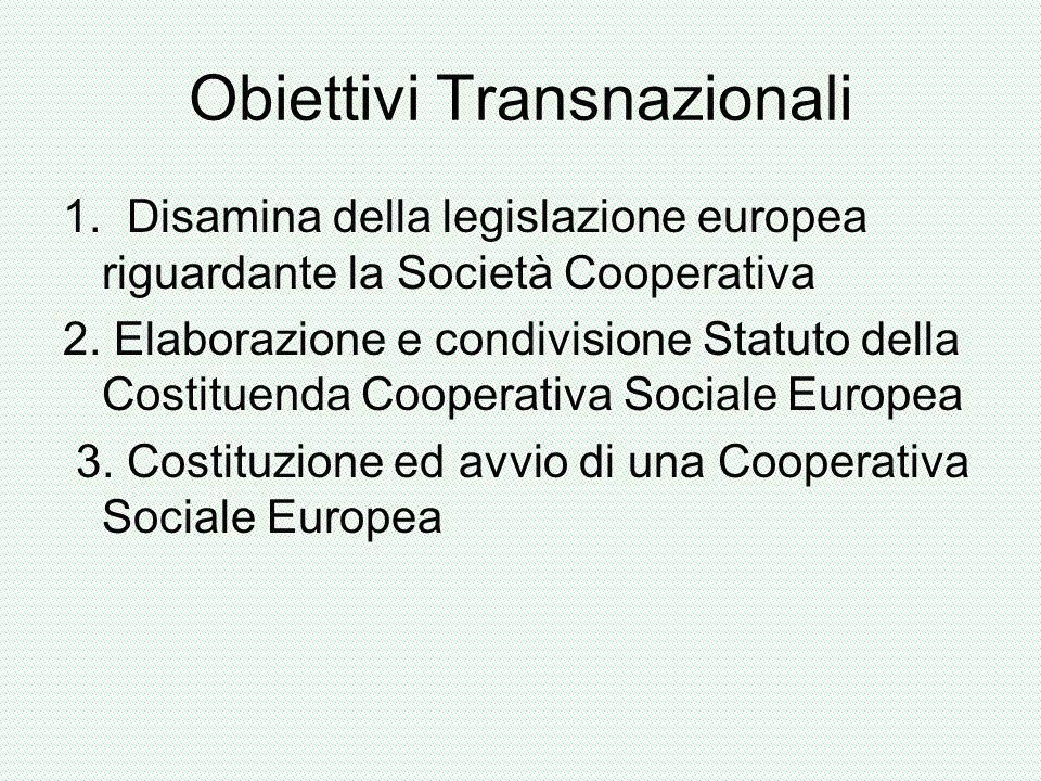 Obiettivi Transnazionali 1. Disamina della legislazione europea riguardante la Società Cooperativa 2. Elaborazione e condivisione Statuto della Costit