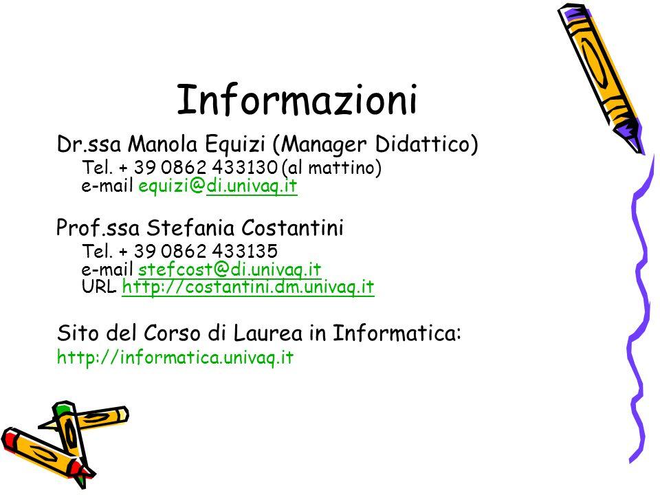 Informazioni Dr.ssa Manola Equizi (Manager Didattico) Tel.