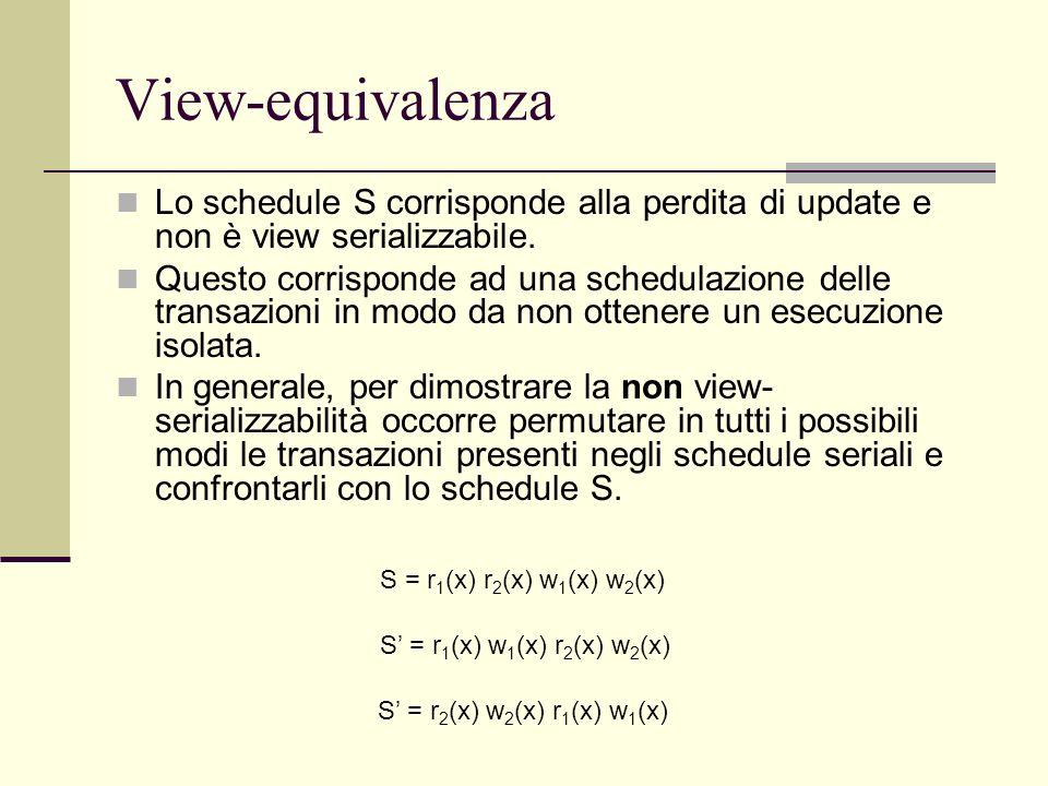 View-equivalenza Lo schedule S corrisponde alla perdita di update e non è view serializzabile. Questo corrisponde ad una schedulazione delle transazio