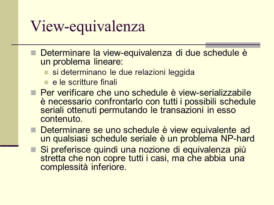 View-equivalenza Determinare la view-equivalenza di due schedule è un problema lineare: si determinano le due relazioni leggida e le scritture finali