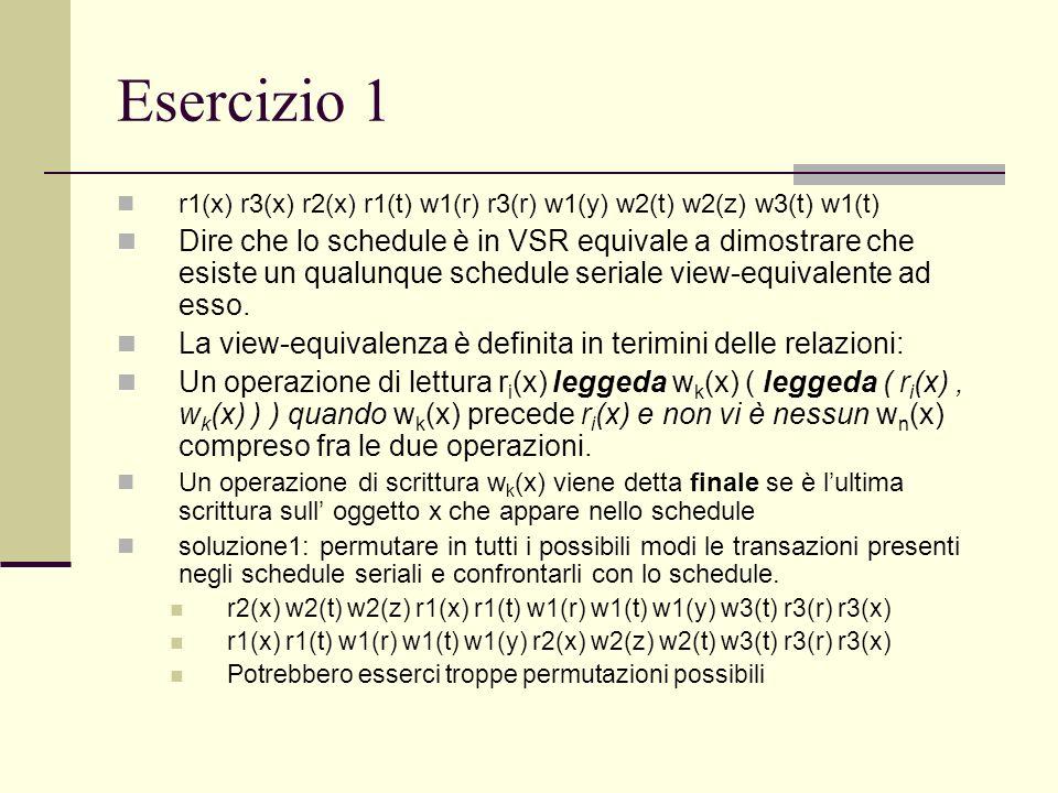 Esercizio 1 r1(x) r3(x) r2(x) r1(t) w1(r) r3(r) w1(y) w2(t) w2(z) w3(t) w1(t) Dire che lo schedule è in VSR equivale a dimostrare che esiste un qualun
