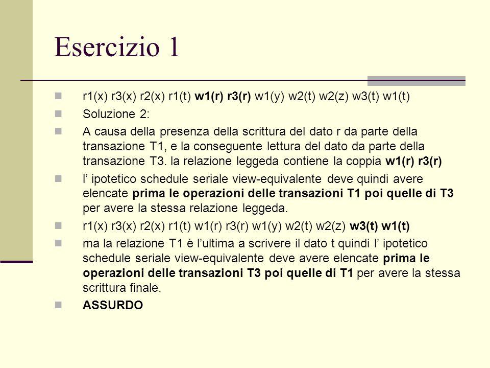 Esercizio 1 r1(x) r3(x) r2(x) r1(t) w1(r) r3(r) w1(y) w2(t) w2(z) w3(t) w1(t) Soluzione 2: A causa della presenza della scrittura del dato r da parte
