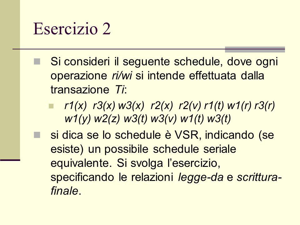 Esercizio 2 Si consideri il seguente schedule, dove ogni operazione ri/wi si intende effettuata dalla transazione Ti: r1(x) r3(x) w3(x) r2(x) r2(v) r1