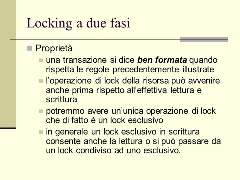 Locking a due fasi Proprietà una transazione si dice ben formata quando rispetta le regole precedentemente illustrate loperazione di lock della risors