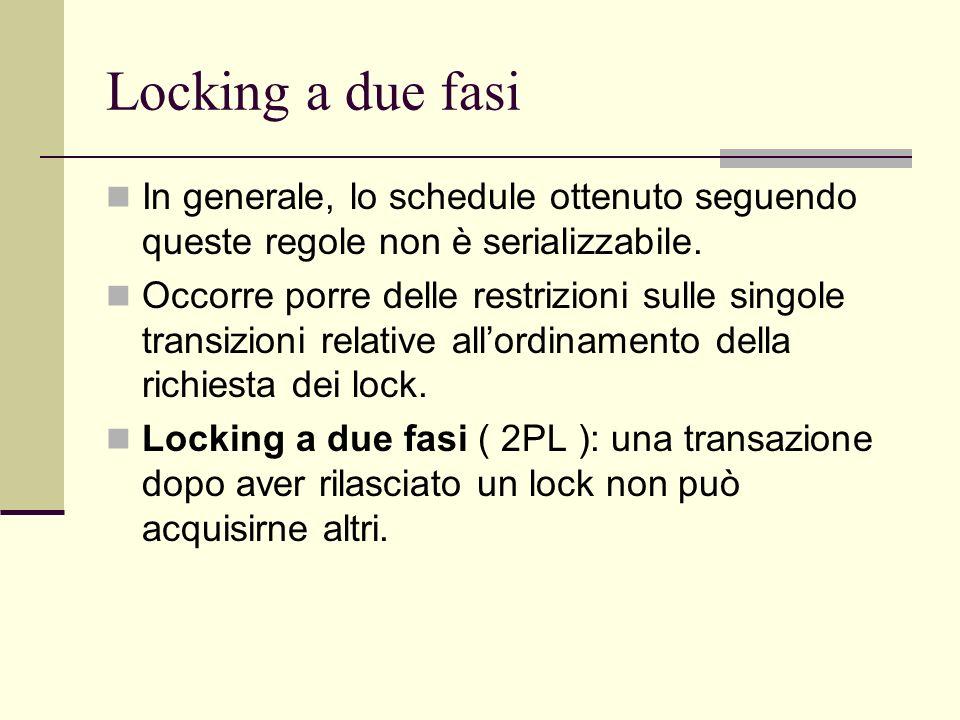 Locking a due fasi In generale, lo schedule ottenuto seguendo queste regole non è serializzabile. Occorre porre delle restrizioni sulle singole transi