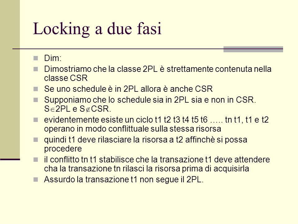 Locking a due fasi Dim: Dimostriamo che la classe 2PL è strettamente contenuta nella classe CSR Se uno schedule è in 2PL allora è anche CSR Supponiamo