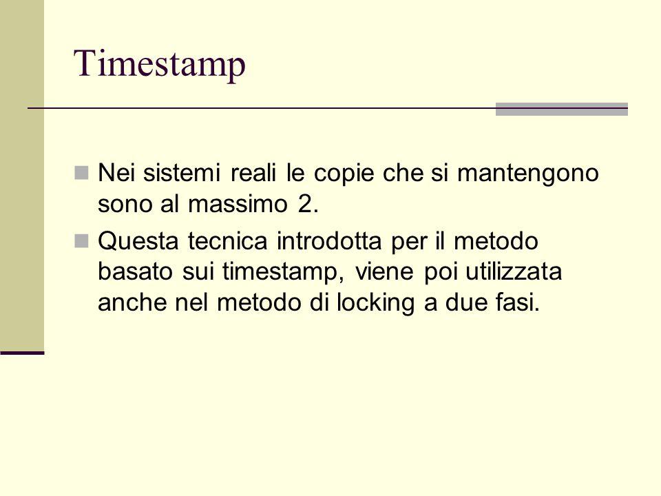 Timestamp Nei sistemi reali le copie che si mantengono sono al massimo 2. Questa tecnica introdotta per il metodo basato sui timestamp, viene poi util