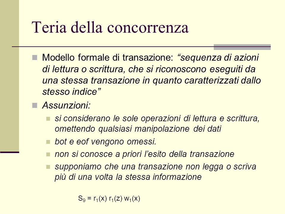 Teria della concorrenza Modello formale di transazione: sequenza di azioni di lettura o scrittura, che si riconoscono eseguiti da una stessa transazio