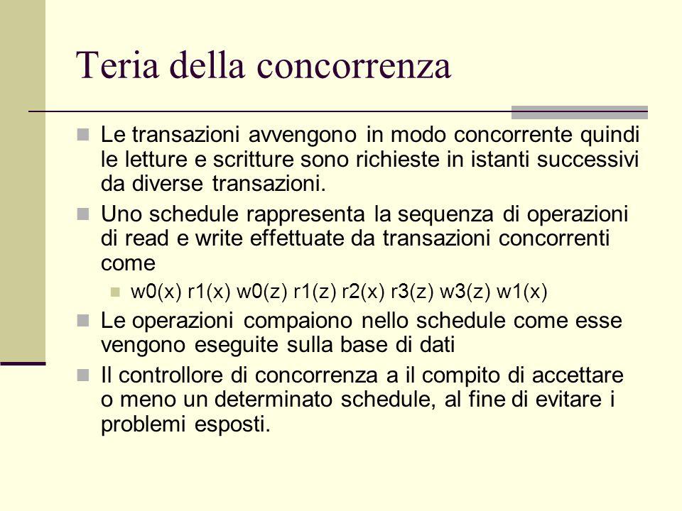 Teria della concorrenza Le transazioni avvengono in modo concorrente quindi le letture e scritture sono richieste in istanti successivi da diverse tra
