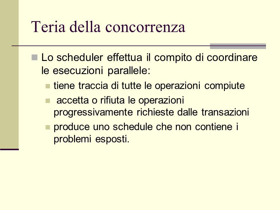 Teria della concorrenza Lo scheduler effettua il compito di coordinare le esecuzioni parallele: tiene traccia di tutte le operazioni compiute accetta