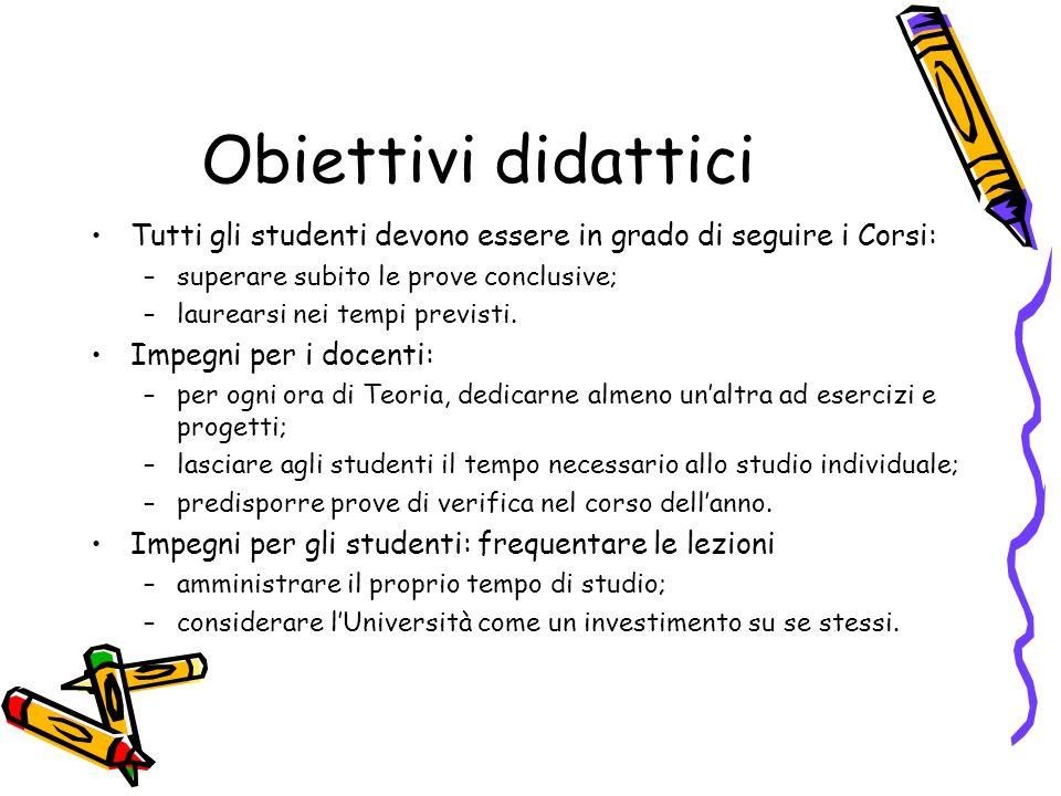Obiettivi didattici Tutti gli studenti devono essere in grado di seguire i Corsi: –superare subito le prove conclusive; –laurearsi nei tempi previsti.