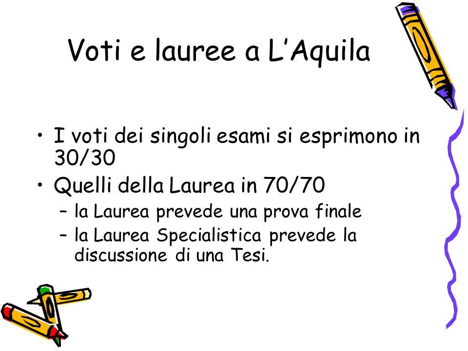 Voti e lauree a LAquila I voti dei singoli esami si esprimono in 30/30 Quelli della Laurea in 70/70 –la Laurea prevede una prova finale –la Laurea Spe
