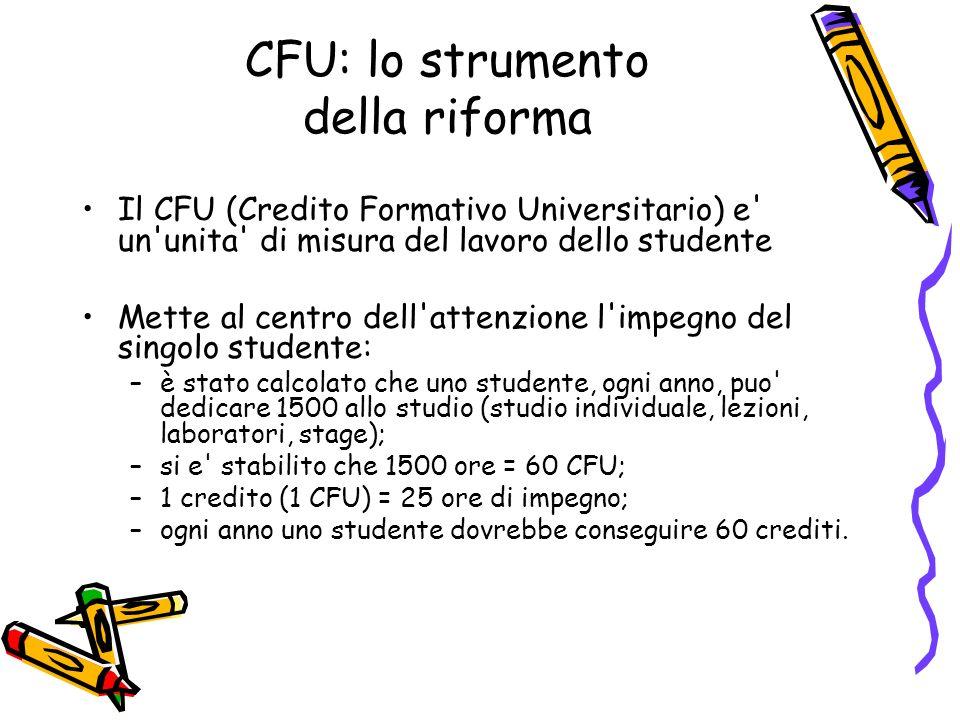 CFU: lo strumento della riforma Il CFU (Credito Formativo Universitario) e' un'unita' di misura del lavoro dello studente Mette al centro dell'attenzi