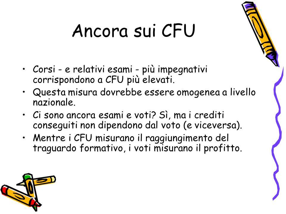 Ancora sui CFU Corsi - e relativi esami - più impegnativi corrispondono a CFU più elevati. Questa misura dovrebbe essere omogenea a livello nazionale.