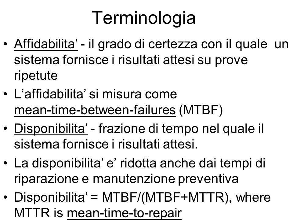 Terminologia Affidabilita - il grado di certezza con il quale un sistema fornisce i risultati attesi su prove ripetute Laffidabilita si misura come mean-time-between-failures (MTBF) Disponibilita - frazione di tempo nel quale il sistema fornisce i risultati attesi.