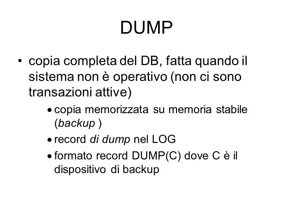 DUMP copia completa del DB, fatta quando il sistema non è operativo (non ci sono transazioni attive) copia memorizzata su memoria stabile (backup ) record di dump nel LOG formato record DUMP(C) dove C è il dispositivo di backup