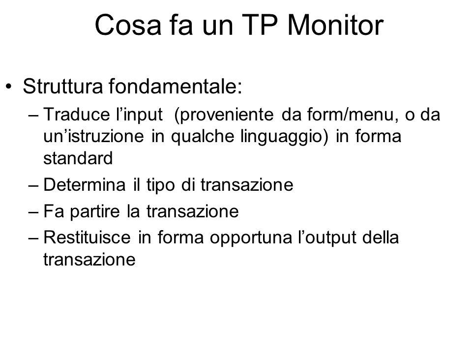 Cosa fa un TP Monitor Struttura fondamentale: –Traduce linput (proveniente da form/menu, o da unistruzione in qualche linguaggio) in forma standard –Determina il tipo di transazione –Fa partire la transazione –Restituisce in forma opportuna loutput della transazione