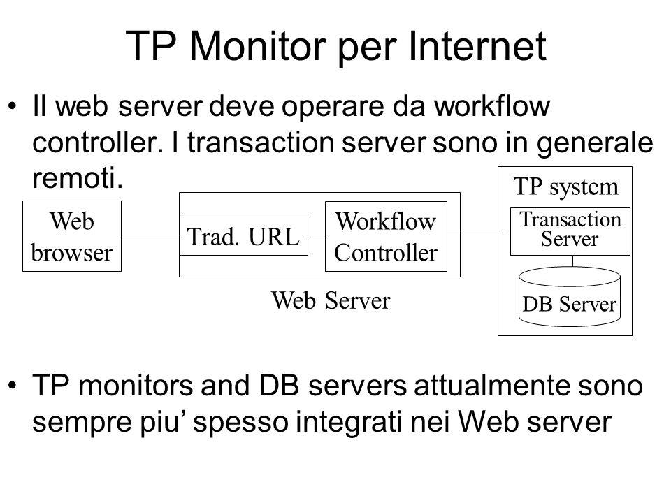 TP Monitor per Internet Il web server deve operare da workflow controller.