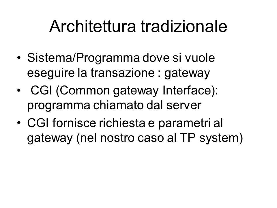 Architettura tradizionale Sistema/Programma dove si vuole eseguire la transazione : gateway CGI (Common gateway Interface): programma chiamato dal server CGI fornisce richiesta e parametri al gateway (nel nostro caso al TP system)