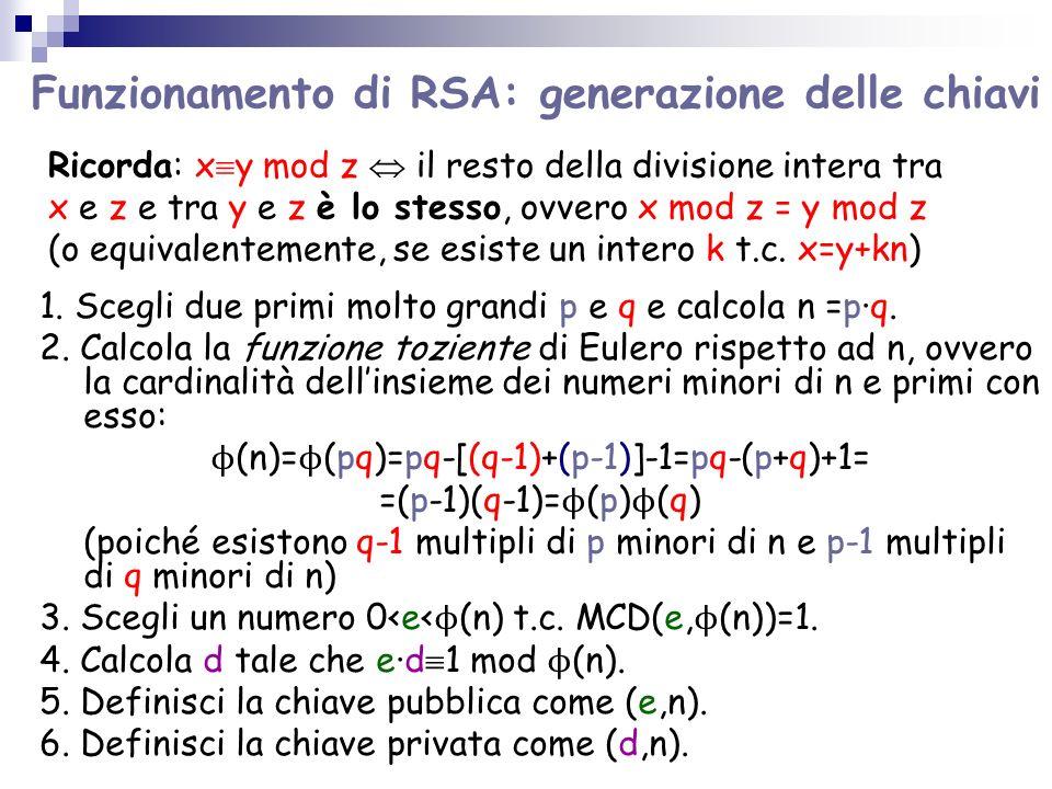Funzionamento di RSA: generazione delle chiavi 1.
