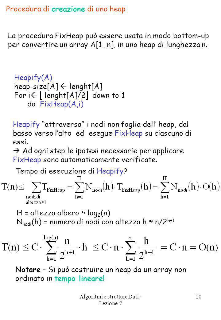 Algoritmi e strutture Dati - Lezione 7 10 Procedura di creazione di uno heap La procedura FixHeap può essere usata in modo bottom-up per convertire un