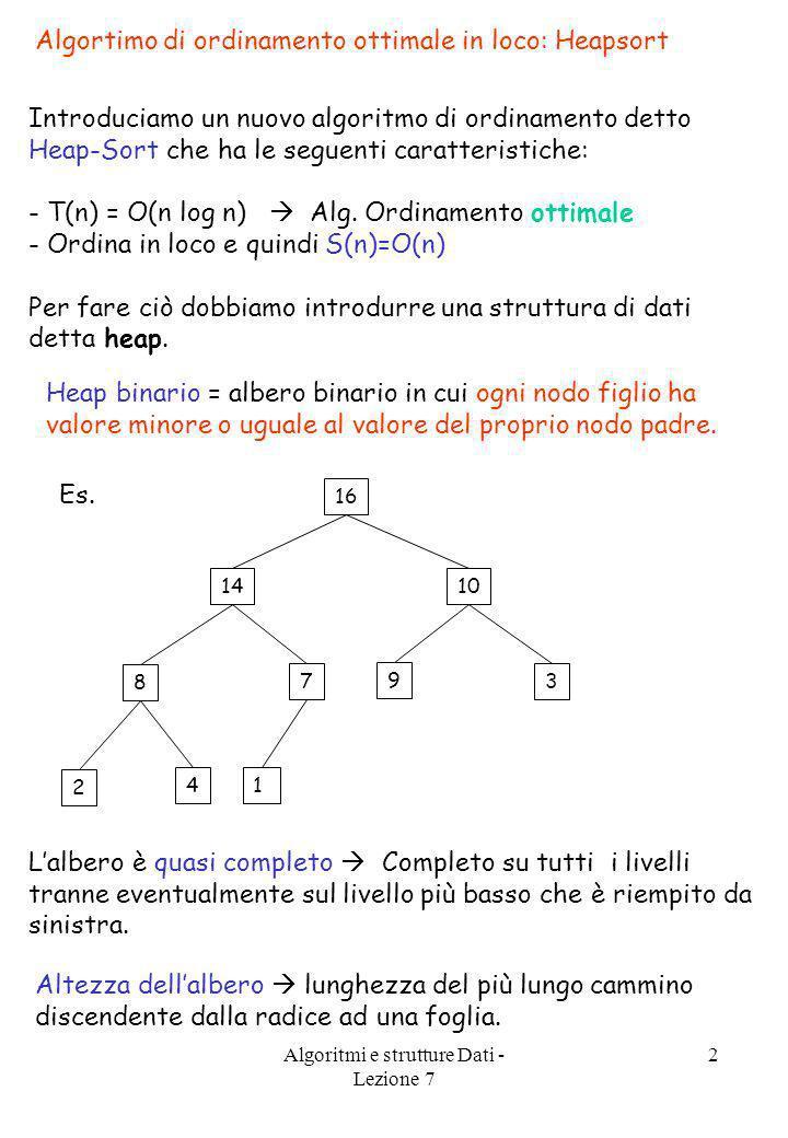 Algoritmi e strutture Dati - Lezione 7 2 Algortimo di ordinamento ottimale in loco: Heapsort Introduciamo un nuovo algoritmo di ordinamento detto Heap