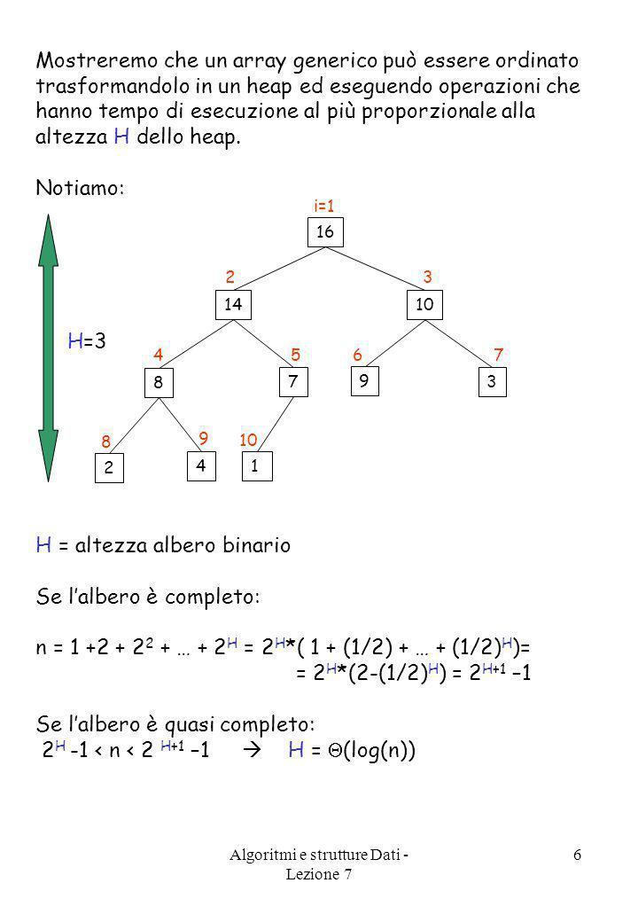 Algoritmi e strutture Dati - Lezione 7 6 Mostreremo che un array generico può essere ordinato trasformandolo in un heap ed eseguendo operazioni che ha