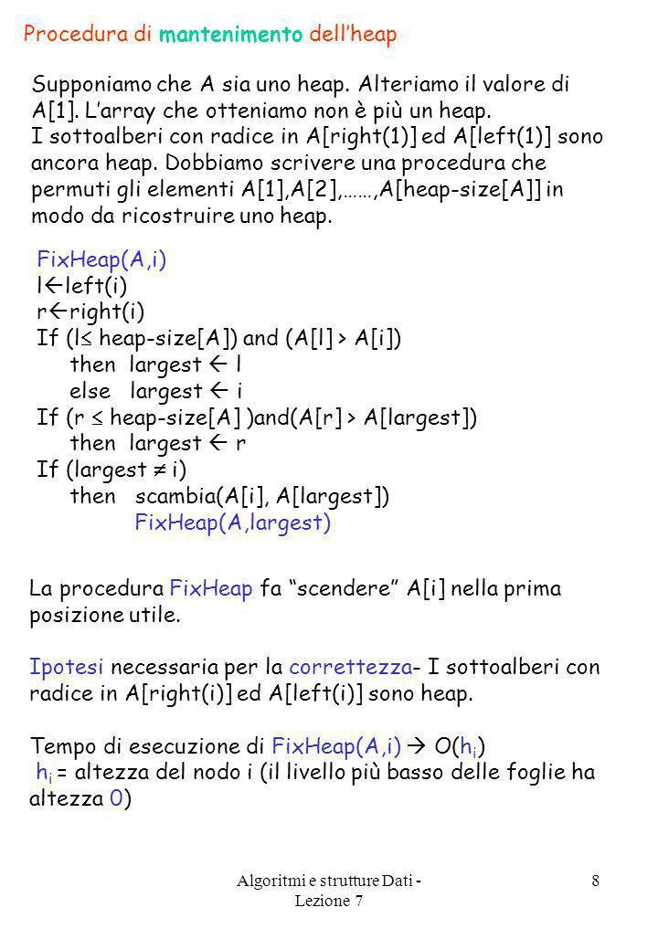 Algoritmi e strutture Dati - Lezione 7 8 Procedura di mantenimento dellheap Supponiamo che A sia uno heap. Alteriamo il valore di A[1]. Larray che ott