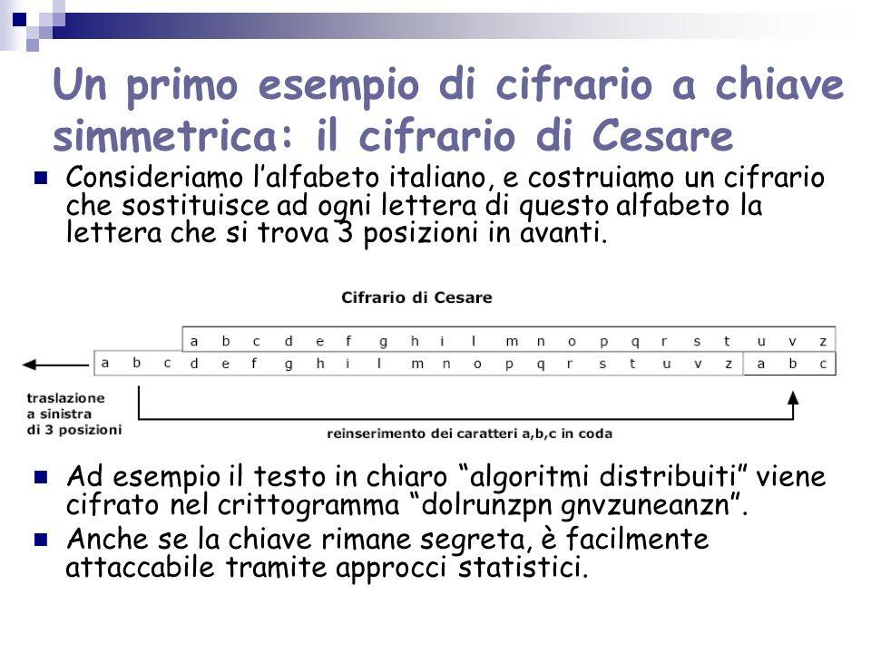 Un primo esempio di cifrario a chiave simmetrica: il cifrario di Cesare Consideriamo lalfabeto italiano, e costruiamo un cifrario che sostituisce ad o