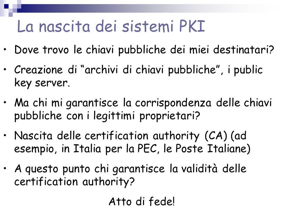 La nascita dei sistemi PKI Dove trovo le chiavi pubbliche dei miei destinatari? Creazione di archivi di chiavi pubbliche, i public key server. Ma chi